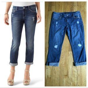 WHBM Blanc Embellished Slim Crop Jeans - 10